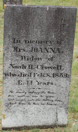 CROWELL, JOANNA - Barnstable County, Massachusetts | JOANNA CROWELL - Massachusetts Gravestone Photos