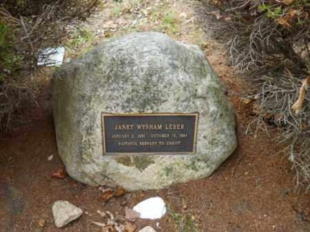 LEBER, JANET WYSHAM - Barnstable County, Massachusetts | JANET WYSHAM LEBER - Massachusetts Gravestone Photos
