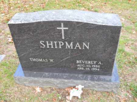 SHIPMAN, BEVERLY A - Barnstable County, Massachusetts | BEVERLY A SHIPMAN - Massachusetts Gravestone Photos