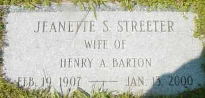 STREETER BARTON, JEANETTE S - Berkshire County, Massachusetts | JEANETTE S STREETER BARTON - Massachusetts Gravestone Photos