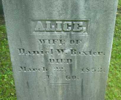 BAXTER, ALICE - Berkshire County, Massachusetts   ALICE BAXTER - Massachusetts Gravestone Photos