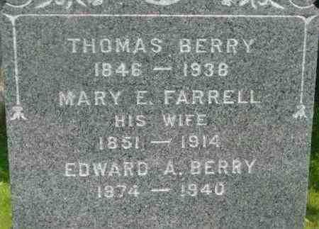FARRELL, MARY E - Berkshire County, Massachusetts | MARY E FARRELL - Massachusetts Gravestone Photos