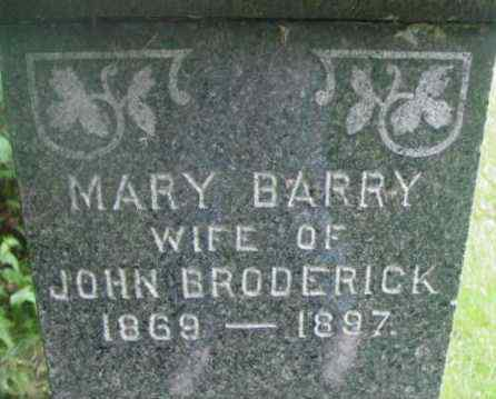 BARRY BRODERICK, MARY - Berkshire County, Massachusetts | MARY BARRY BRODERICK - Massachusetts Gravestone Photos