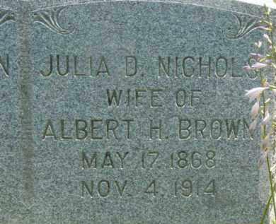 BROWN, JULIA D - Berkshire County, Massachusetts | JULIA D BROWN - Massachusetts Gravestone Photos