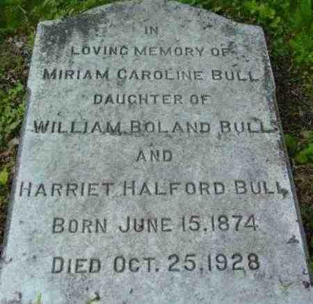 BULL, MIRIAM CAROLINE - Berkshire County, Massachusetts | MIRIAM CAROLINE BULL - Massachusetts Gravestone Photos