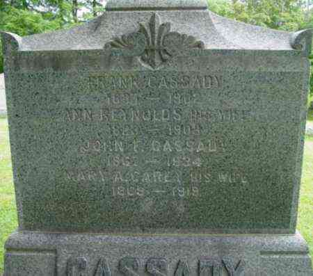 REYNOLDS CASSADY, ANN - Berkshire County, Massachusetts | ANN REYNOLDS CASSADY - Massachusetts Gravestone Photos