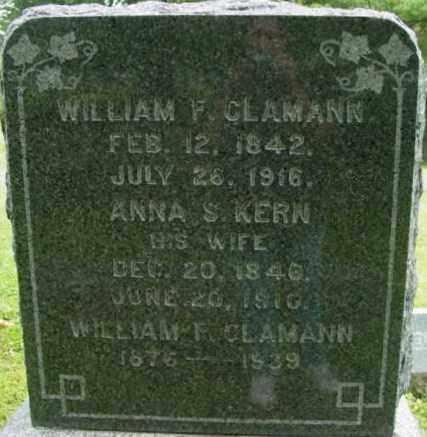 CLAMANN, WILLIAM F - Berkshire County, Massachusetts | WILLIAM F CLAMANN - Massachusetts Gravestone Photos
