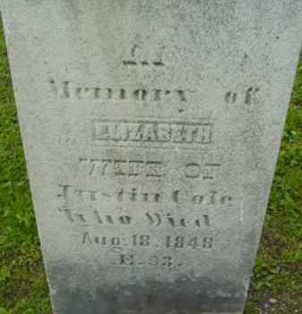 COLE, ELIZABETH - Berkshire County, Massachusetts   ELIZABETH COLE - Massachusetts Gravestone Photos