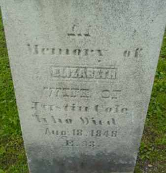 COLE, ELIZABETH - Berkshire County, Massachusetts | ELIZABETH COLE - Massachusetts Gravestone Photos