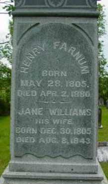WILLIAMS FARNUM, JANE - Berkshire County, Massachusetts   JANE WILLIAMS FARNUM - Massachusetts Gravestone Photos