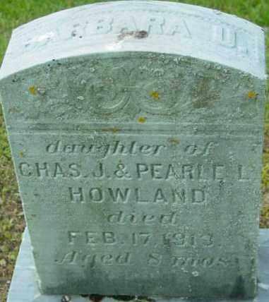 HOWLAND, BARBARA U - Berkshire County, Massachusetts   BARBARA U HOWLAND - Massachusetts Gravestone Photos