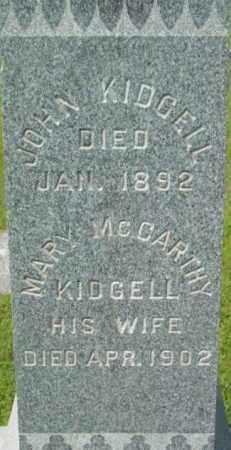MCCARTHY KIDGELL, MARY - Berkshire County, Massachusetts | MARY MCCARTHY KIDGELL - Massachusetts Gravestone Photos