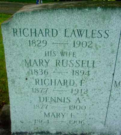 RUSSELL LAWLESS, MARY - Berkshire County, Massachusetts | MARY RUSSELL LAWLESS - Massachusetts Gravestone Photos