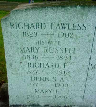 LAWLESS, RICHARD F - Berkshire County, Massachusetts   RICHARD F LAWLESS - Massachusetts Gravestone Photos