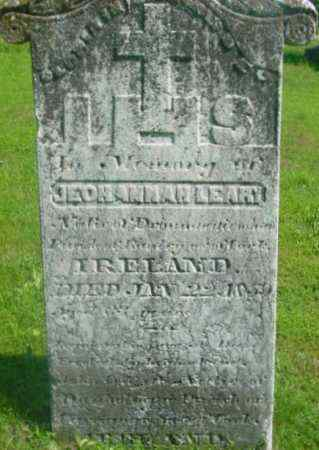 LEARY, JEOHANNAH - Berkshire County, Massachusetts   JEOHANNAH LEARY - Massachusetts Gravestone Photos