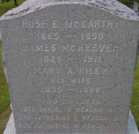 RILEY MCKEEVER, MARY A - Berkshire County, Massachusetts | MARY A RILEY MCKEEVER - Massachusetts Gravestone Photos
