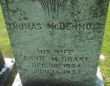 DRAKE MCDERMOTT, ANNIE M - Berkshire County, Massachusetts | ANNIE M DRAKE MCDERMOTT - Massachusetts Gravestone Photos