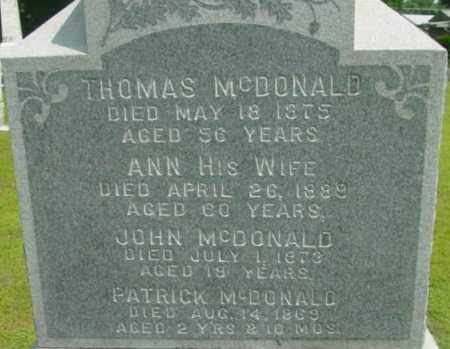 MCDONALD, ANN - Berkshire County, Massachusetts | ANN MCDONALD - Massachusetts Gravestone Photos