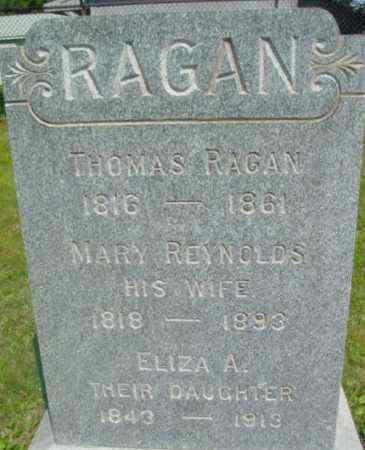REYNOLDS RAGAN, MARY - Berkshire County, Massachusetts | MARY REYNOLDS RAGAN - Massachusetts Gravestone Photos