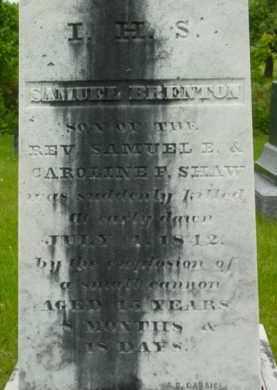 SHAW, SAMUEL BRENTON - Berkshire County, Massachusetts   SAMUEL BRENTON SHAW - Massachusetts Gravestone Photos
