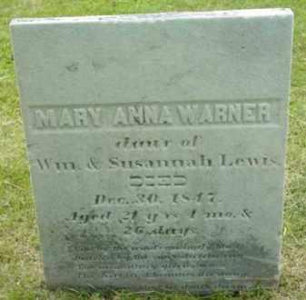 WARNER, MARY ANNA - Berkshire County, Massachusetts | MARY ANNA WARNER - Massachusetts Gravestone Photos