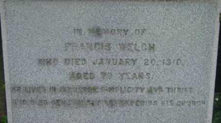 WELCH, FRANCIS - Berkshire County, Massachusetts | FRANCIS WELCH - Massachusetts Gravestone Photos