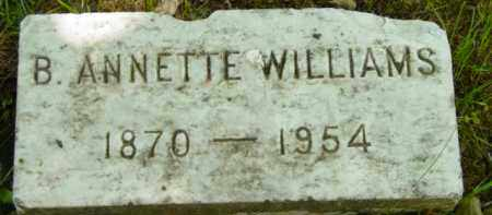 WILLIAMS, B ANNETTE - Berkshire County, Massachusetts | B ANNETTE WILLIAMS - Massachusetts Gravestone Photos