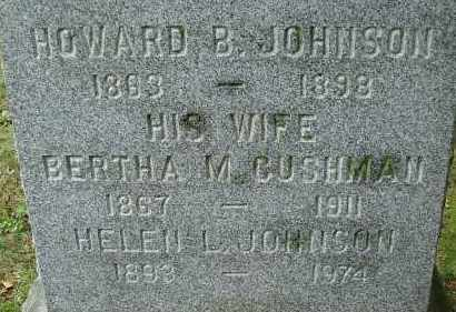 CUSHMAN JOHNSON, BERTHA M - Hampden County, Massachusetts | BERTHA M CUSHMAN JOHNSON - Massachusetts Gravestone Photos