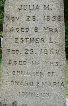JOHNSON, ESTHER L - Hampden County, Massachusetts | ESTHER L JOHNSON - Massachusetts Gravestone Photos