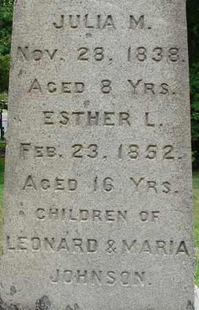 JOHNSON, ESTHER L - Hampden County, Massachusetts | ESTHER L JOHNSON - Massachusetts Gravestone Photos