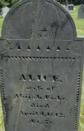 FISKE, ALICE - Middlesex County, Massachusetts | ALICE FISKE - Massachusetts Gravestone Photos