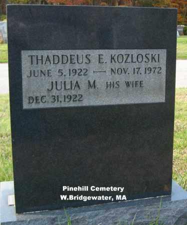 KOZLOSKI, THADDEUS - Plymouth County, Massachusetts | THADDEUS KOZLOSKI - Massachusetts Gravestone Photos